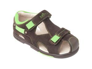 Momo Grow Toddler/Little Kid Double-Strap Brown/Green Leather Sandal Shoes