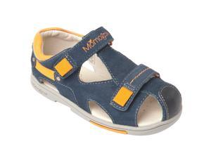 Momo Grow Toddler/Little Kid Double-Strap Blue/Red Orange Leather Sandal Shoes