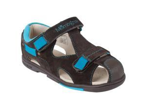 Momo Grow Toddler/Little Kid Double-Strap Brown/Blue Leather Sandal Shoes