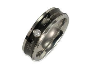 """Stainless Steel Concave Black CZ """"Sweet Agreement"""" 6mm Band Ring Men Size 9"""