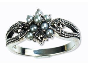 Star Gaze Silver Natural Seed Pearl Ring (Size 6)