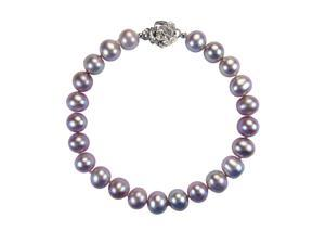 """Lavender 7-8mm AAA Cultured Pearl Sterling Silver Rose Clasp Bracelet 7"""" (LS1R2)"""