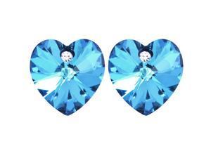 Crystal Heart Swarovski Elements Heart Shaped Crystal Rhodium Plated Stud Earrings - Aquamarine Blue