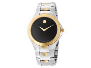 Movado Luno Mens Black Dial Two Tone Swiss Quartz Watch 0606381