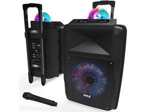 Pyle Portable 700W Outside Wireless Speaker DJ Karaoke Machine w/Fun LED Lights