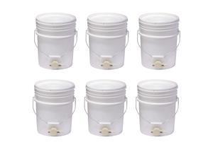 Little Giant BKT5 Plastic Honey Bucket w/ Gate for Beekeeping, 5 Gallon (6 Pack)