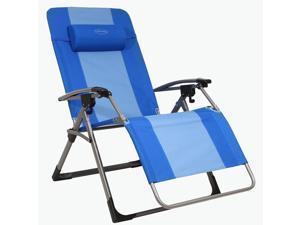 Kamp-Rite Outdoor Camping Beach Patio Oversized Anti Gravity Folding Chair, Blue