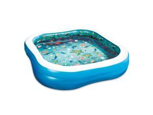 Summer Waves KB0509000156 3D Square Outdoor Family Swimming Pool with Goggles