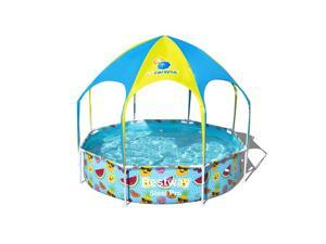 Bestway 8 Ft x 20 In UV Careful Splash in Shade Spray Round Swimming Pool, Fruit