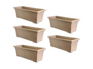 HC Companies ROP28000A34 28-Inch Plastic Romana Deck Planter, Sandstone (5 Pack)