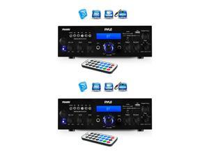 Pyle 200 Watt Bluetooth LCD Home Stereo Amplifier with Remote (2 Pack)