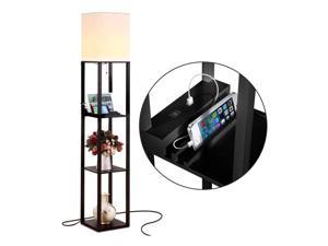Brightech Maxwell Standing Tower Floor Lamp with Shelves and USB Port, Black