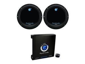 Planet Audio 12 Inch Subwoofer (2 Pack) & AC15001M Car Audio Amplifier w/ Remote