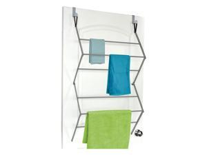 Homz Collapsible Over the Door Hooks Hanging Drying Clothing Closet Rack, Silver