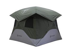 Gazelle T4 4 Person Family Instant Pop Up Camping Hub Tent w/ Setup Gear, Green