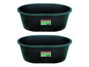 Tuff Stuff Heavy Duty 18 Gallon Oval Water, Feed, or Storage Tub, Black (2 Pack)