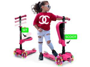 Hurtle ScootKid 3 Wheel Toddler Child Ride On Toy Scooter w/ LED Wheels, Pink