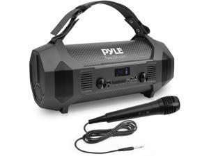 Pyle PBMSPG122 Bluetooth Boombox Karaoke Speaker System with Handheld Microphone