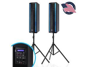 Pyle 3 x 6.5 Inch Active and Passive Bluetooth Combo Speaker Boxes w/ RGB Lights