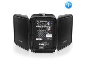 Pyle Stage and Studio 8 Inch Bluetooth PA Loud Speaker and Amplifier Mixer Kit
