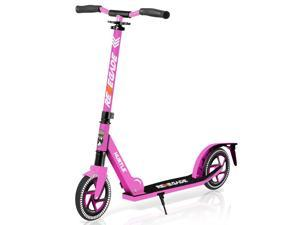 Hurtle Renegade Lightweight Foldable Teen and Adult Commuter Kick Scooter, Pink