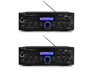 Pyle Home 200 Watt AM/FM AUX/USB Bluetooth Home Stereo Amplifier System (2 Pack)