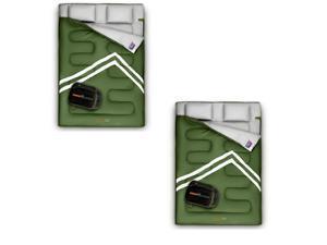 SereneLife 85 x 57 In Waterproof Double Sleeping Bag & 2 Pillows, Green (2 Pack)