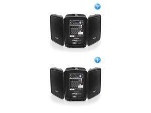 Pyle Stage and Studio 8 Inch Bluetooth PA Speaker & Amplifier Mixer Kit (2 Pack)