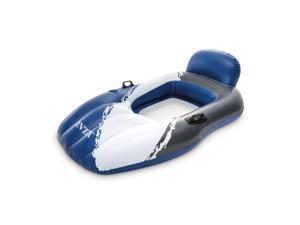 Intex Floating Mesh Lounge Chair Pool Float Lounger w/ Cupholder, Blue & White
