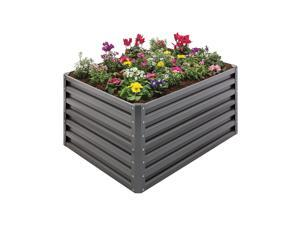 Stratco 20 Cubic Feet Steel Double Height Rectangle Garden Plant Bed, Slate Gray