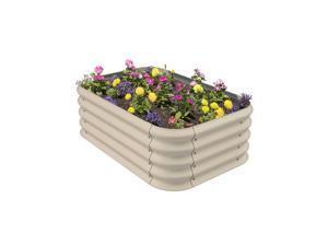 Stratco Raised Corrugated Steel Outdoor Decor Modular Plant Garden Bed, Beige