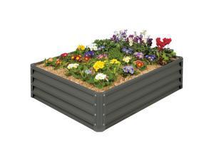 Stratco 4 x 3 Ft Galvanized Steel Metal Rectangle Raised Garden Bed Planter