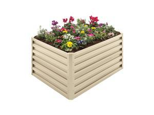 Stratco 20 Cubic Feet Steel Double Height Rectangle Garden Plant Bed, Beige