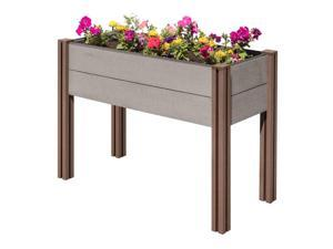Stratco Raised Wood Plastic Composite Outdoor Rectangle Plant Garden Bed, Gray
