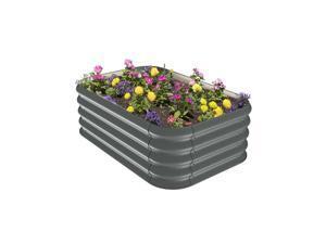 Stratco 41 x 28 x 13 Inches Corrugated Steel Modular Raised Garden Bed Planter