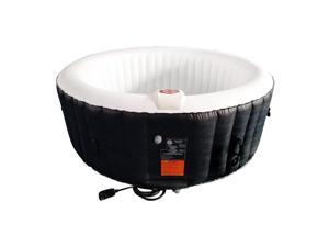 Aleko 265 Gallon 6 Person Round Inflatable Jetted Hot Tub w/ Fitted Cover, Black