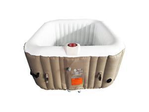 Aleko 160 Gallon 4 Person Square Inflatable Jetted Hot Tub with Fit Cover, Brown