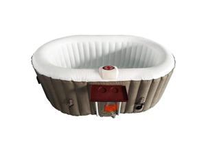 Aleko 145 Gallon 2 Person Oval Inflatable Jetted Hot Tub w/ Fitted Cover, Brown
