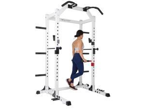 Body Flex Sports SMU6200 Weightlifting Deluxe Home Power Rack Cage System, White