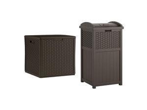 Suncast 60 Gallon Outdoor Storage Deck Box & 33 Gallon Trash Hideaway, Java