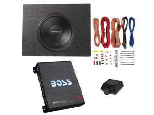 Rockford Fosgate 500W Subwoofer + Q Power Truck Enclosure + Boss 1100W Amplifier