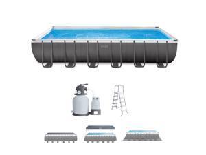 "Intex 24' x 12' x 52"" Rectangular Ultra XTR Frame Swimming Pool w/ Sand Filter + Improved Ladder- 2019 Model"