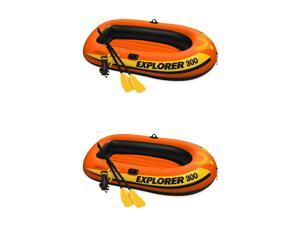 Intex Explorer 300 Compact Fishing 3 Person Raft Boat w/ Pump & Oars (2 Pack)
