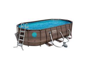 Bestway Power Steel Swim Vista 18 x 9 x 4 Foot Swimming Pool Set with Pump