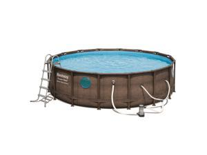 Bestway Power Steel Swim Vista 16x4 Foot Above Ground Swimming Pool Set w/ Pump