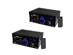 Pyle Mini 2 x 40-Watt Stereo Power Amplifier + USB/SD/AUX/LED Display (2 Pack)