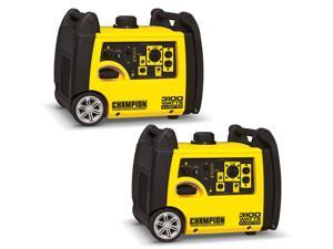 Champion 3100 Watt Quiet Camping RV Ready Gasoline Inverter Generator (2 Pack)