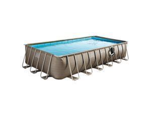 Summer Waves 24 x 12 Foot Elite Rectangular Swimming Pool, Basket Weave Wicker