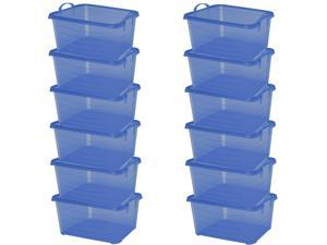 Life Story Blue Stackable Closet & Storage Box 55 Quart Containers, (12 Pack)