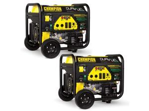 Champion 8000 Watt Portable Electric Start RV Ready Dual Fuel Generator (2 Pack)